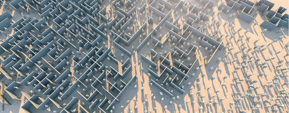 Fototapeta problem solution ideas concept 3d rendering of crowd polygon people find way out of white wall maze on white floor color tone with light flare over image