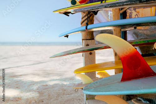 Colorful surf boards in shop for rent on the beach Wallpaper Mural