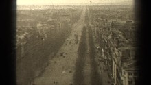 PARIS FRANCE-1947: A Road Nestled In The Middle Of Two Large Cliff Sides Appear To Be Busy
