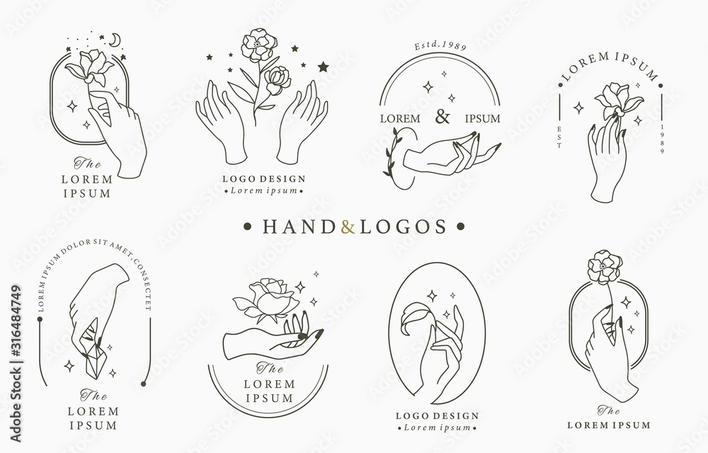 Fototapeta Beauty occult logo collection with hand, rose,crystal,moon,star,heart.Vector illustration for icon,logo,sticker,printable and tattoo