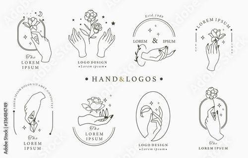 Obraz Beauty occult logo collection with hand, rose,crystal,moon,star,heart.Vector illustration for icon,logo,sticker,printable and tattoo - fototapety do salonu