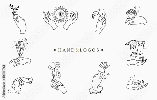 Fotomural Beauty occult logo collection with hand, rose,crystal,moon,star