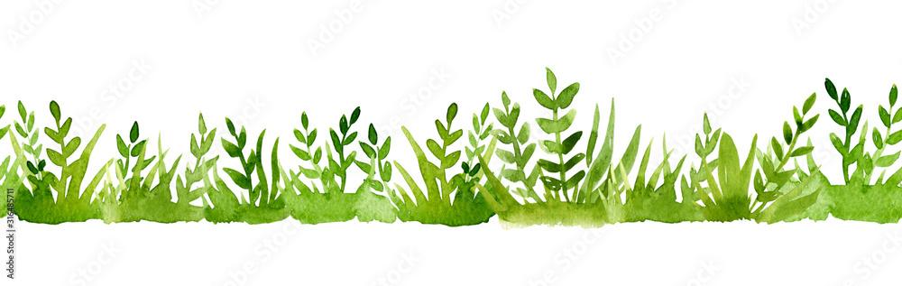 Fototapeta Watercolor border of green grass isolated on white background.