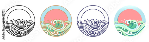 Obraz Wave water and sun vector art illustration. - fototapety do salonu