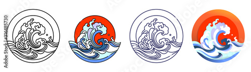 Fototapeta Wave water and sun vector art illustration. obraz