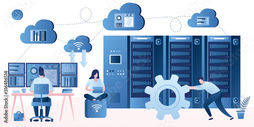 Fototapeta Bid data developers and engineers. Data science and jobs concept. obraz