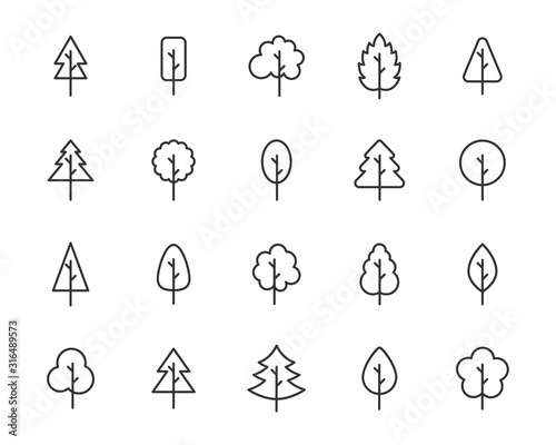 set of tree icons, leaf, natural - 316489573