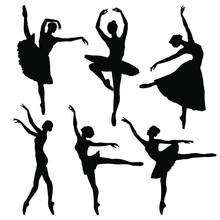 Ballerina Silhouette Set. Vect...