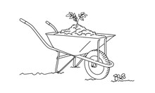 Line Drawing Of Wheelbarrow Filled With Soil. Sprout The Ground.  Vector Illustration.