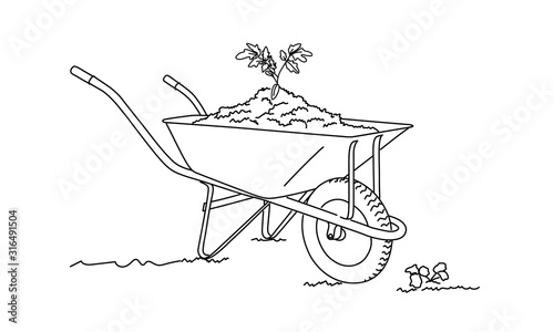 Papel de parede Line drawing of wheelbarrow filled with soil