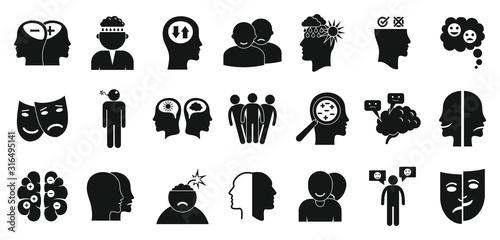 Bipolar disorder icons set Wallpaper Mural