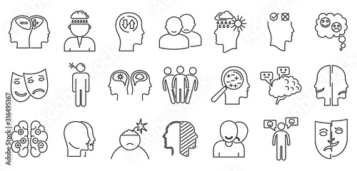 Photo Bipolar disorder disease icons set