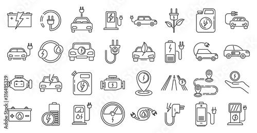Leinwand Poster Hybrid charge icons set