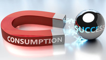 Consumption Helps Achieving Success - Pictured As Word Consumption And A Magnet, To Symbolize That Consumption Attracts Success In Life And Business, 3d Illustration