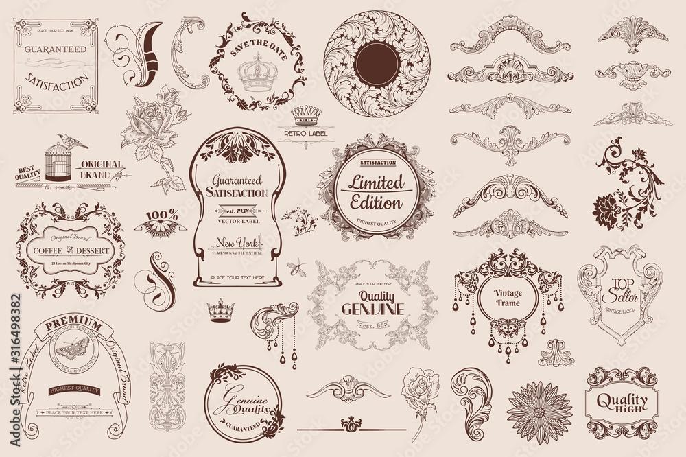 Fototapeta set of calligraphic elements for design and scrapbook in vector