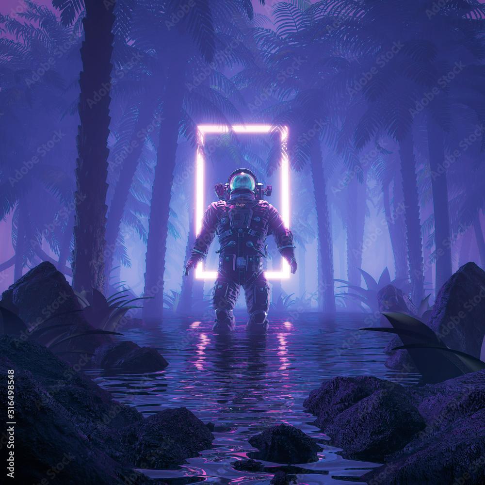 Psychodeliczna dżungla astronauta / ilustracja 3D sceny science fiction przedstawiającej surrealistycznego astronautę w neonowym oświetlonym bagnistym lesie na planecie wodnej