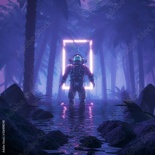 Leinwand Poster Psychedelic jungle astronaut / 3D illustration of science fiction scene showing