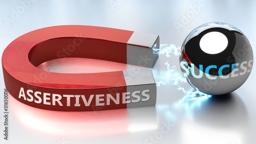 Assertiveness helps achieving success - pictured as word Assertiveness and a mag Wallpaper Mural