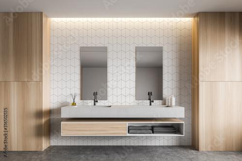 Fototapeta White tile and wood bathroom with double sink obraz