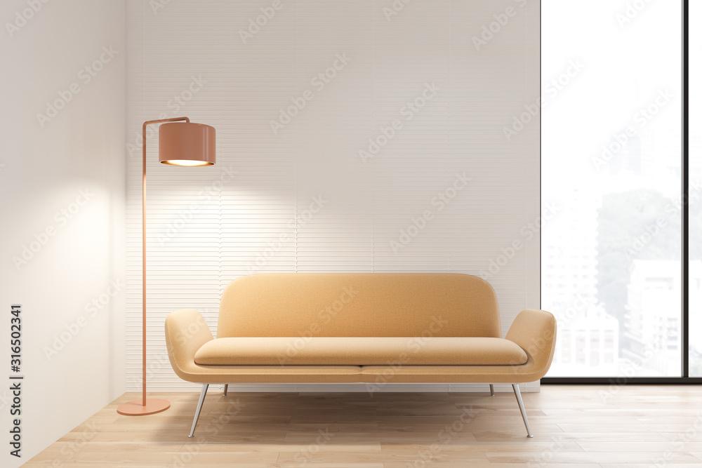Fototapeta White living room interior with yellow sofa