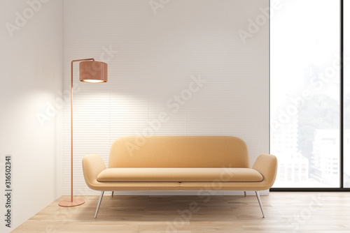 White living room interior with yellow sofa