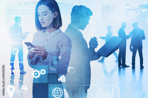 Fototapety, obrazy: Woman with phone, her team and business interface