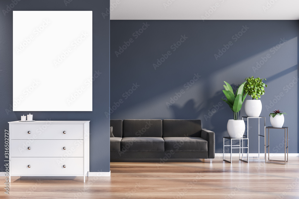 Fototapeta Blue living room with sofa and poster