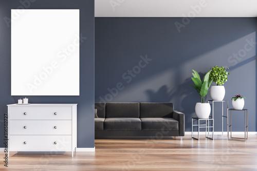 Fototapeta Blue living room with sofa and poster obraz