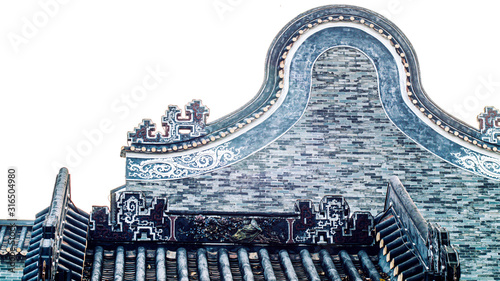 Fotomural Shawan ancient town traditional roof called Wok handle-shaped roofs in Guangzhou