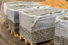 Gray Cement Paving Slabs On Pa...