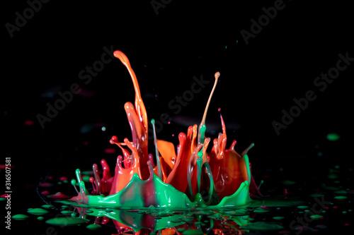 Photo Color paint splash on a black background