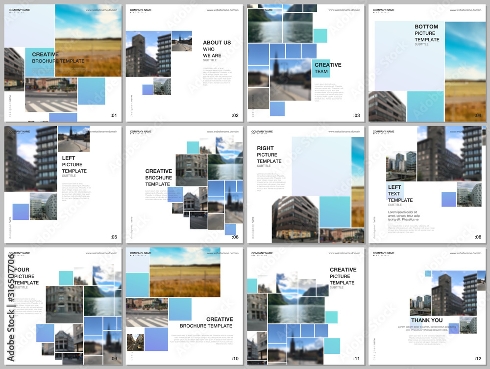 Fototapeta Brochure layout of square format covers design templates for square flyer leaflet, brochure design, report, presentation. Geometric blue color abstract background with photos, consisting of squares.