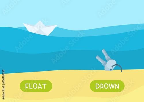 Cartoon keys underwater and paper boat illustration Canvas Print