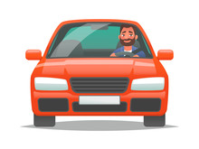 Happy Man Driving A Red Car. S...