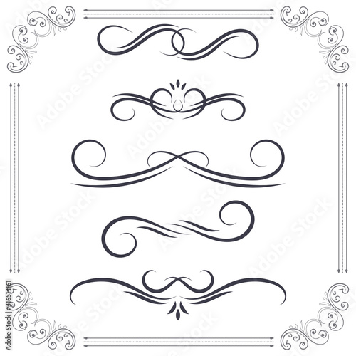 Vintage ornamental dividers. Text typographic decorations Canvas Print