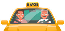 Taxi Driver Man And Passenger ...