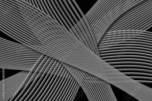 Vászonkép Fondo negro con lineas y redes curvas gris.
