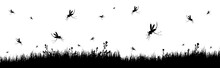 Vector Silhouette Of Meadow With Mosquitoes On White Background. Symbol Of Nature With Grass And Insect.