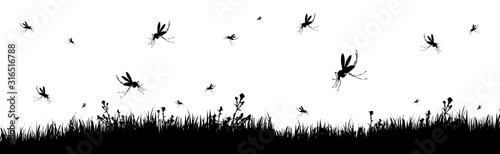 Vector silhouette of meadow with mosquitoes on white background Wallpaper Mural