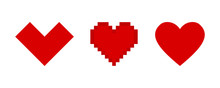 Hearts Vector Pixel Icons Isol...
