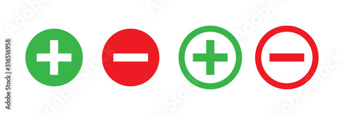 Fotografía  Plus and minus vector isolated green and red icon