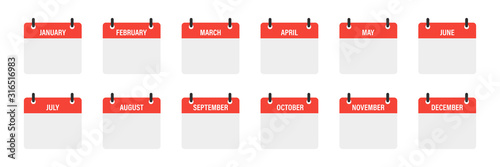 Cuadros en Lienzo Calendar mounts isolated vector icons on white background