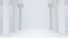 Colonnade Ancient Greek Columns White Antique Background. 3d Rendering.