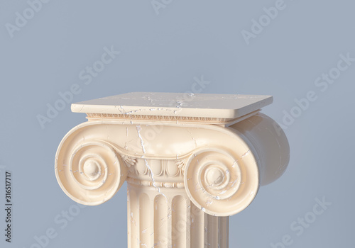 Ancient column pedestal isolated museum piece background, Classical Greek pillar Fotobehang