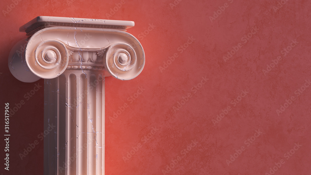 Fototapeta Capital of the ancient Greek Ionic order isolated over white background. Antique column roman pillar architecture, 3d illustration.
