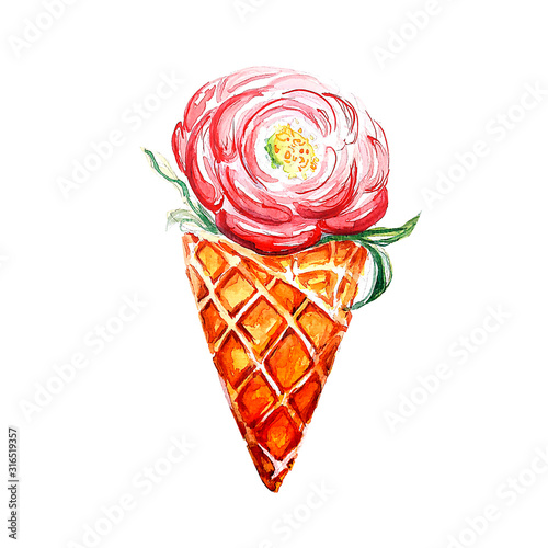 Watercolor waffle cone flower drawing art background Wall mural