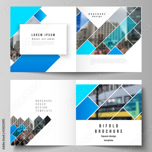 Fotomural The vector illustration layout of two covers templates for square design bifold brochure, magazine, flyer, booklet