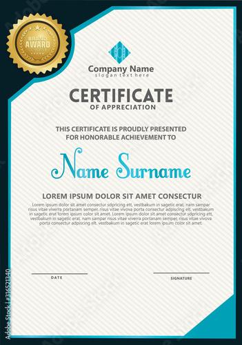 Fototapeta Vertical modern certificate template obraz na płótnie
