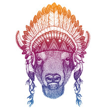 Portrait Of Vector Bull, Bison, Buffallo. Animal Wearing Traditional Indian Headdress With Feathers. Tribal Style Illustration For Little Children Clothes. Image For Kids Tee Fashion, Posters.