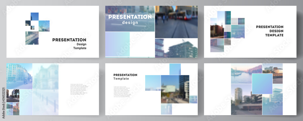 Fototapeta Vector layout of the presentation slides design business templates, multipurpose template for presentation brochure, brochure cover. Abstract design project in geometric style with blue squares.